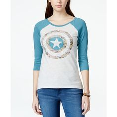 Hybrid Juniors' Marvel The Avengers Graphic Baseball T-Shirt (2.900 HUF) ❤ liked on Polyvore featuring tops, t-shirts, baseball graphic t shirts, comic t shirts, graphic baseball tees, hybrid tees and baseball style t shirts