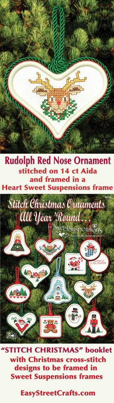 "24 Easy to Stitch Christmas Cross-Stitch Designs to frame in Sweet Suspensions double-sided ornament frames.  ""Stitch Christmas All Year 'Round"" booklet also has instructions for framing and decorating."