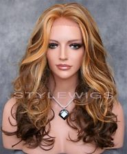 3 Tone Blonde & Brown Mix Long HEAT OK Curly Wavy Lace Front Wig ABLA 2217