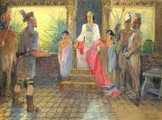 Amalickiah lying to the Queen of the Lamanites about who poisoned her husband, (he did) so he could take the throne. Book of Mormon by Minerva Teichert