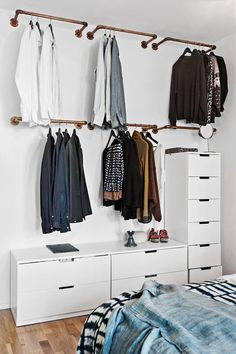 Wardrobe Racks, Clothing Wardrobes Walmart Wardrobe Wall Mounted Brass Clothing Rack Wite Lacquered Dresser With Many Drawer: inspiring clothing wardrobes. Such a guys place! Walmart Wardrobe, Wardrobe Wall, Diy Wardrobe, Open Wardrobe, Hanging Wardrobe, Wardrobe Design, Hanging Closet, White Wardrobe, Simple Wardrobe