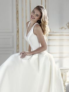 Atelier Pronovias celebrates new impeccable cuts, cutting-edge couture materials and unseen beadwork that appeal to the most trend-setting brides. Pronovias Wedding Dress, Dress Collection, Veil, Bridal Dresses, Couture, Prado, Female, Elegant, Fashion Design
