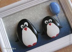 DIY Product Birthday Painting Ping Penguin - Craft product Birthday Painting Penguins in the house Clay Material natural photo 5 - Pebble Painting, Dot Painting, Stone Painting, Stone Crafts, Rock Crafts, Arts And Crafts, Christmas Pebble Art, Christmas Rock, Painted Rock Animals