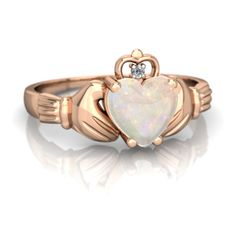 Opal Claddagh 14K Rose Gold ring R2372 - front view