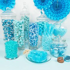 Shop Light Blue Premium Candy Buffet for sale online from WH Candy. Blue Birthday Parties, Frozen Themed Birthday Party, Sweet 16 Birthday, Baby Shower Treats, Baby Shower Desserts, Baby Boy Shower, Baby Shower Candy Table, Blue Party Decorations, Sweet 16 Decorations