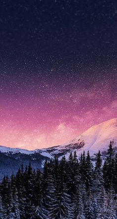 beautiful Iphone wallpaper. starry night, trees, mountains, snow, purple, blue, pink, and white