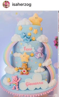 30 Trendy Cupcakes Decoration For Girls Baby Shower Party Themes Care Bear Birthday, Care Bear Party, Baby Birthday Cakes, 1 Year Old Birthday Cake, Baby Shower Cupcakes, Shower Cakes, Party Cupcakes, Bolo Laura, Care Bear Cakes