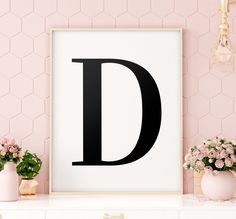 "Letter ""D"" Printable Art Poster, Alphabet D Wall Art, D Initial Wall Art, Monochrome Art, Letter Printable Wall Art *INSTANT DOWNLOAD* Initial Wall Art, Letter Wall Art, Letter D, Printing Websites, Online Printing, Christmas Lyrics, Monochrome Nursery, Nursery Letters, Printable Wall Art"