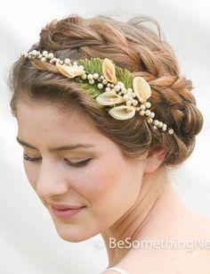 Vintage Wax Flower Pearl Headpiece Vintage