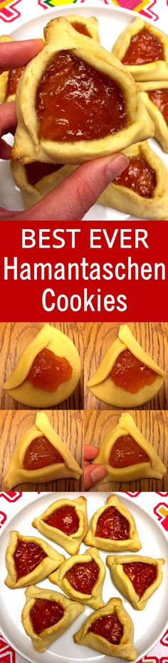 [ This is the only Hamantaschen recipe I'll ever need! So easy with step-by-step pictures! Read Recipe by melaniecooks Jewish Desserts, Jewish Recipes, Jewish Food, Lebanese Recipes, Baking Recipes, Cookie Recipes, Dessert Recipes, Jewish Cookies, Crack Crackers
