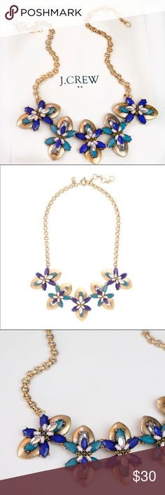 "J.Crew Blue Stacked Flowers Necklace Brand new.  Dust pouch included   Item: A9160 Color: BLUE Bold, Feminine & Brilliant! The Perfect Statement Pop for Freshening Your Look! Faceted Gems in the Shape of Abstract 3-D Flowers Sure to Get the Compliments!  Zinc - Epoxy - Glass - Acrylic - Lt. Gold Plating 18"" with 2.25"" Extender Chain for Versatility J. Crew Jewelry Necklaces"