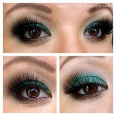 Make-up for brown eyes... Green Eyeshadow