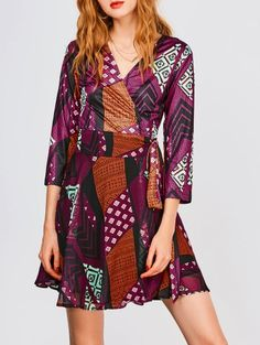 SHARE & Get it FREE | V Neck Patchwork Print Wrap DressFor Fashion Lovers only:80,000+ Items • New Arrivals Daily Join Zaful: Get YOUR $50 NOW!