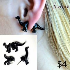 Bronto Earrings, $4  Can't get enough of Chris Pratt or Jurassic World?  Time to add these bad boys to your shrine, er... ears. We won't judge.  Two piece earrings with Bronto in the front and Saurus in the back.  Perfect for everything. Srsly.  #geek #dinos #dinosaur #dinosaurs #geekchic #geekisthenewchic #swoon #swoonweekly #brontosaurus #bronto #jurassic #jurassicpark #earrings #history #repeats #swoon #pet #wantone #trex #bronto #saurus #earcandy #geekalicious #jewelry #baubles…