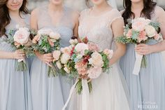 Pastel #bouquets accented with textured greenery always make us swoon with delight! | Photography By: Greg Finck | WedLuxe Magazine | #WedLuxe #Wedding #luxury #weddinginspiration #luxurywedding #bridesmaids #weddinginfrance