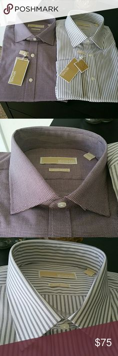 """✴✴Michael Kors Regular Fit Shirts✴✴ Brand new with tags  Size is 17.5 32-33 Retail is $75 each One is burgundy with white and the other is white and gray Color name is Bordeaux and Iced Grey Button down  If you have any questions please ask.  Sorry no trades.  If you don't like the price please use the offer button.   Have an amazing day!  """"Great Sense of Style"""" MICHAEL Michael Kors Shirts Dress Shirts"""