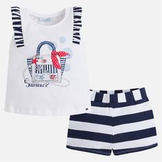 Refresh her new season wardrobe with this bag vest & shorts set from Mayoral. The pretty shoulder frills with stripes match the stripy shorts perfectly. Perfect for under the sea adventures or trips to the beach. Navy Blue Shorts, Striped Shorts, Summer Baby, Summer Kids, Short Outfits, Kids Outfits, Daily Fashion, Kids Fashion, Short Niña