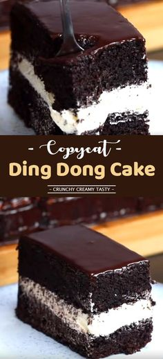 Ding Dong Cake Recipe (+video) ChocolateDessert easydessert dingdongcake is part of Cake recipes - Easy Cake Recipes, Easy Desserts, Sweet Recipes, Delicious Desserts, Dessert Recipes, Yummy Recipes, Recipies, Food Cakes, Cupcake Cakes