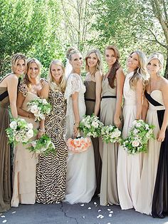 love the different dresses in the same palette; Molly Sims bridal party