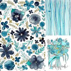 Blue Floral Watercolor Surface Design