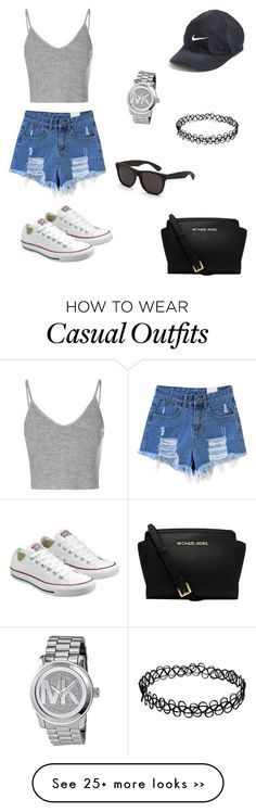 """Casual"" by tiasymone on Polyvore featuring Converse, Glamorous, Michael Kors…"