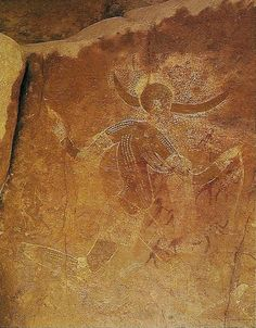 Running horned woman. Tassili n Algeria. 6000- 4000 BCE