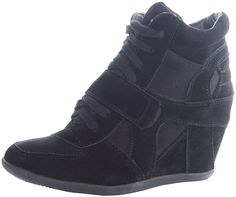 Breckelles Women's METRO-01W Faux Suede Velcro Strap Lace Up Sneaker Wedges Black Size 9