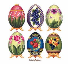 Easter Eggs in Faberge Style - Col. 2 (cross stitch)