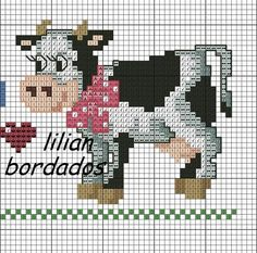 Cross Stitch Cow, Cross Stitch Kitchen, Cross Stitch Alphabet, Cross Stitch Animals, Counted Cross Stitch Patterns, Cross Stitch Charts, Cross Stitch Embroidery, Easy Yarn Crafts, Farm Quilt