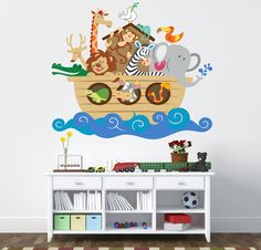 Noahs Ark Wall Decal REUSABLE WALL Decal by MyMonkeyDecals, $85.00