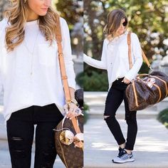 louis vuitton travel bag outfit- Stylish outfits to try right now http://www.justtrendygirls.com/stylish-outfits-to-try-right-now/