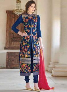 Dazzling Blue Embroidery Work Georgette Churidar Suit #Suits #Anarkali #Salwar   http://www.angelnx.com/Salwar-Kameez