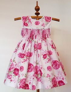 Paris Rose Dress Size Hand Smocked Dress for Girls, Handmade, Pink Floral Cotton Dress, Ready to Ship Little Girl Outfits, Little Girl Dresses, Kids Outfits, Smocked Dresses For Girls, Cotton Dresses, Boutique Dresses, A Boutique, Fashion Boutique, Smocking