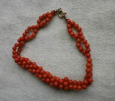 bracciale corallo rosso sardegna autentico - tessito a mano - chiusura oro