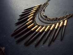 deity  black and gold statement bib necklace  by opulentoddities