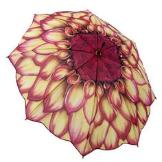 Galleria Dahlia Floral Folding Compact Travel Umbrella - You never want to get stuck in NYC's unpredictable weather unprepared! Ladies Umbrella, Folding Umbrella, Rain Umbrella, Under My Umbrella, Travel Umbrella, Outdoor Umbrella, Cool Umbrellas, Umbrellas Parasols, Floral Umbrellas