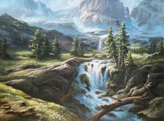 """""""Sunlit Mountain Waterfall"""" Oil Painting by Kevin Hill Watch short oil painting lessons on YouTube: KevinOilPainting Visit my website: www.paintwithkevin.com Find me on Facebook: Kevin Hill Follow me on Twitter: @Kevin Hill"""