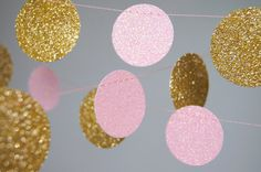 Glitter Paper Garland Gold and Pink Gold and by TheLittleThingsEV