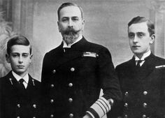 Prince Louis Battenberg and sons Louis (left) and George (right)
