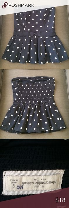 Polka Dot Strapless Peplum Top Adorable Abercrombie & Fitch top! Navy blue with white polka dots. Cute bow. Abercrombie & Fitch Tops Tank Tops