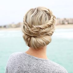 Accomplish a braided updo hairstyle quick + easy with this tuck + roll beauty tutorial.