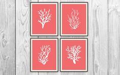 Coral Quad - Set of 4 8x10 Prints - Beach House, Bathroom, Nursery Decor - Coral Silhouettes. $36.00, via Etsy.