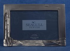 Seagull Pewter Picture Frame -- Lighthouse Theme, dated Lighthouse, Pewter, Picture Frames, Dating, Pictures, Bell Rock Lighthouse, Tin Metal, Portrait Frames, Photos