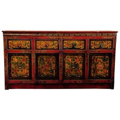 Tibetan Polychrome Buffet Sideboard | From a unique collection of antique and modern furniture at https://www.1stdibs.com/furniture/asian-art-furniture/furniture/
