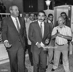 The Lebanese Christian warlord, Elie Hobeika and Lebanese phalange Michel Samaha face media after their meeting 09 September 1985 in Damascus. Former Lebanese minister and Christian militia leader...