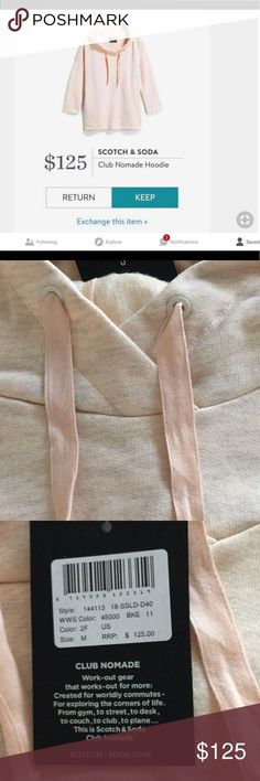 Scotch & Soda Club Nomade Hoodie This is such a cute hoodie which I own myself in another size. It was introduced to me by Stitch Fix as item they send. This does not have Stitch Fix tags on it and has as pictured the manufacturers tags on it.  It is a beautiful  light peach tinging on pink with space grey through it and is that boxy style hoodie. It is one of my favorite things in my wardrobe and very happy to sell this to you. This is priced lower than  Stitch Fix as well as the Scotch…