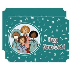 Happy Nurses Week. Personalized Flat Greeting Cards. Matching Cards in various languages , postage stamps and other products available in the Business Related Holidays / Healthcare Category of the Mairin Studio store at zazzle.com