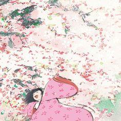Kaguya-hime from Kaguya-hime no Monogatari, adaptation by Studio Ghibli. Film Anime, Manga Anime, Anime Art, Joe Hisaishi, Hayao Miyazaki, Totoro, Nausicaa, Wind Rises, Studio Ghibli Art