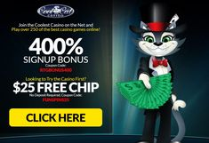 CoolCat Casino is bringing the best of Las Vegas to your home, courtesy of RTG (Real Time Gaming). Snap up the superb $25 FREE Chip with the coupon code: FUNSPINS25 to prepare yourself for the latest game to join the CoolCat Casino's stable! Get into the new game mood with a $25 FREE Chip! Apply the promo code and you are ready to spin the RTG powered slot of your choice! Wagering no deposit bonus: 30xB. Max Allowed Cash out: $100. Play Slots Online, Play Free Slots, Free Slot Games, Slot Online, Best Casino Games, Online Casino Games, Best Online Casino, Online Casino Bonus, Gambling Sites