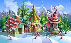Buy Christmas Village by KudoART on GraphicRiver. Christmas Village of Santa Claus. Fairy Houses of Elves.